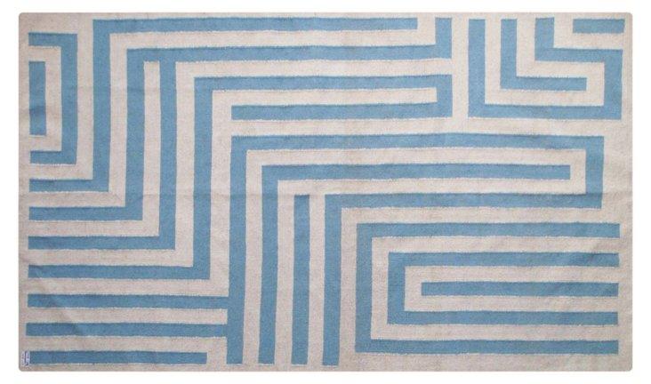 Maze Dhurrie, Sand/Blue