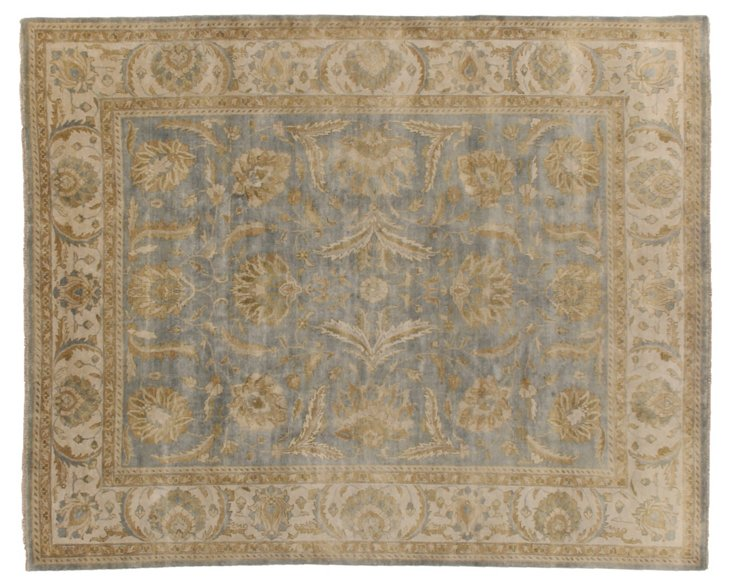 4'x6' Turkish Oushak Rug, Light Blue