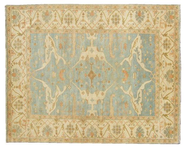 6'x9' Turkish Oushak Rug, Blue/Ivory