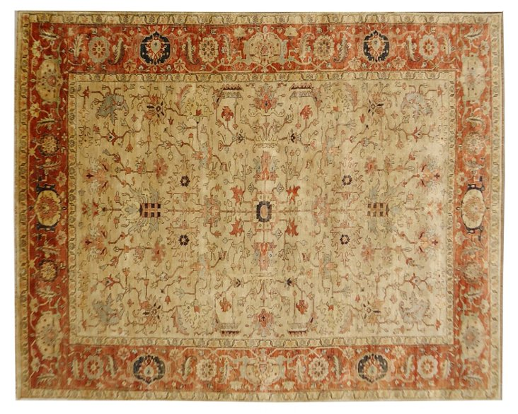6'x9' Serapi Rug, Ivory/Red