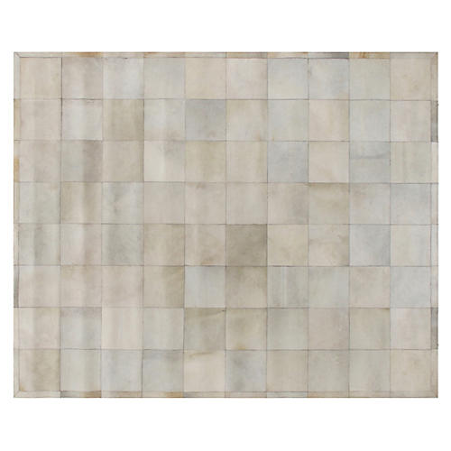 Stitched Blocks Hide, Ivory