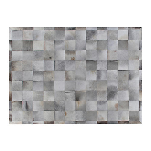 Stitched Blocks Hide, Silver