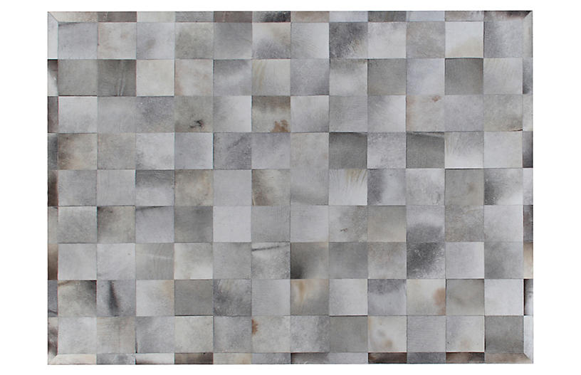 Stitched Blocks Hide, Silver