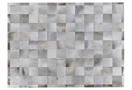 Stitched Blocks Hide Rug, Silver