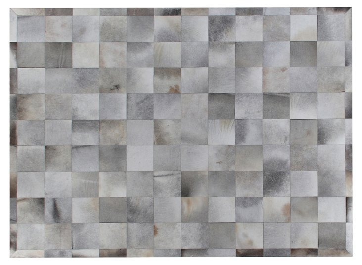 8'x11' Stitched Hide Rug, Silver