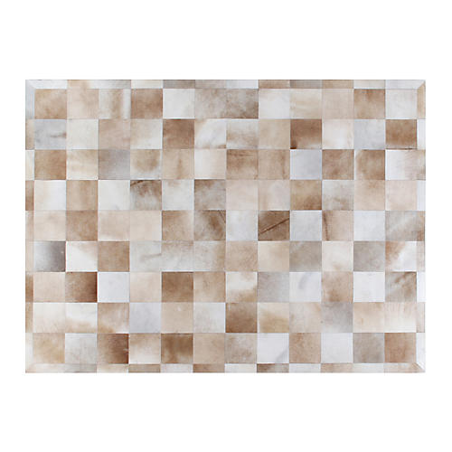Stitched Blocks Hide, Beige