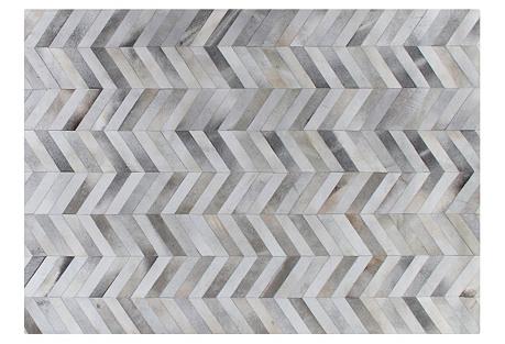 Chevron Hide Rug, Silver/White