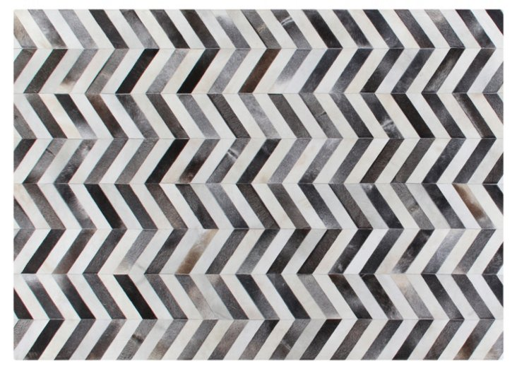 8'x11' Chevron Hide Rug, Gray/White