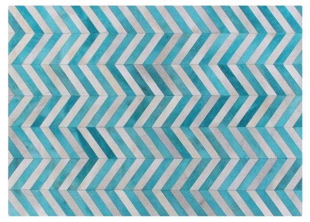 8'x11' Chevron Hide, Turquoise/White