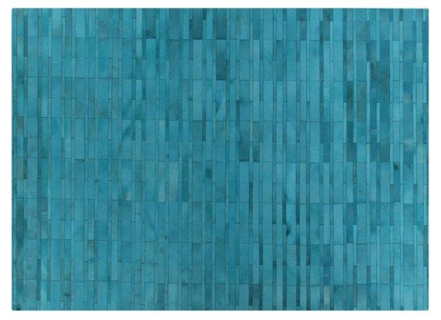 Stitched Tile Hide, Blue