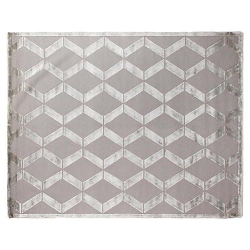 Metro Velvet Rug, Silver Gray