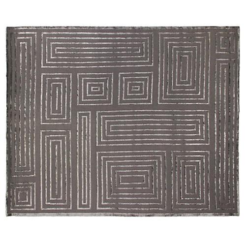 Velvet Maze Block Rug, Charcoal