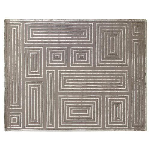 Velvet Maze Block Rug, Silver