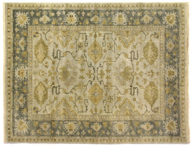 12'x18' Oushak Rug, Cream/Smoky Blue