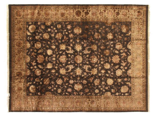 12'x15' Rare Museum Kashan Rug, Charcoal