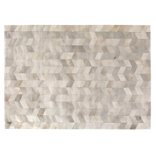 Stitched Chevron Hide, Gray