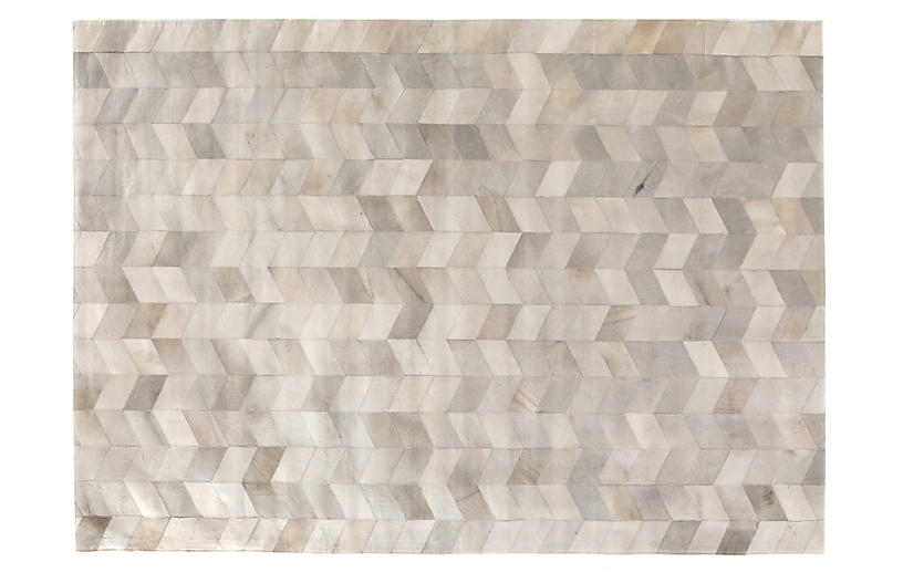 Stitched Chevron Hide, Gray