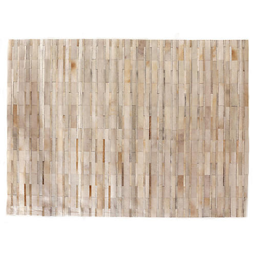 Stitched Chevron Hide, Beige