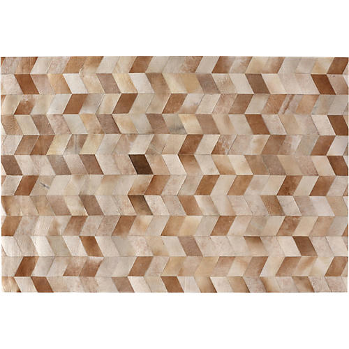 Chevron Hide, Brown/White