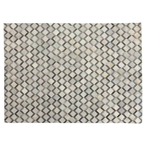 Diamond Cowhide Rug, Gray