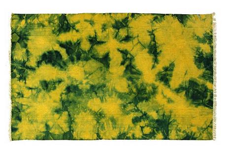 5'x8' Babylon Flat-Weave, Yellow/Green