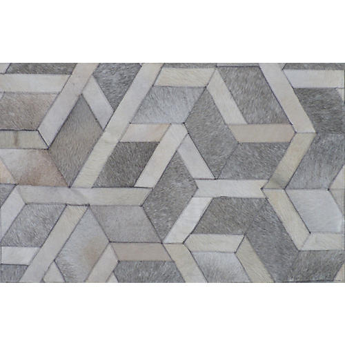 Edgar Hide Rug, Gray/Silver