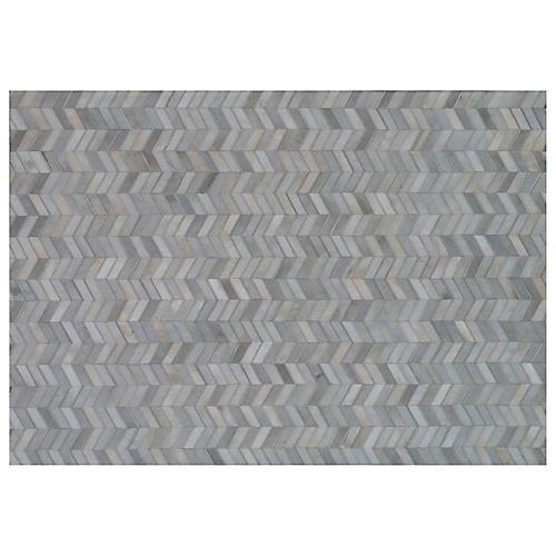 Eton Hide Rug, Gray/Silver