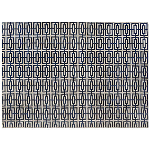 Winfield Hide Rug, Ivory/Navy