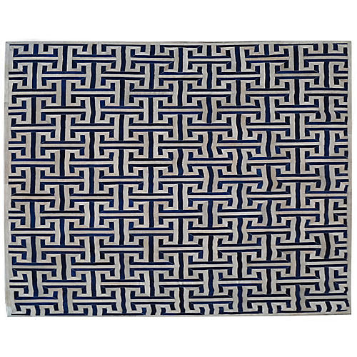 Edith Hide Rug, Ivory/Navy