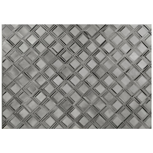 Eliot Hide Rug, Gray/Silver