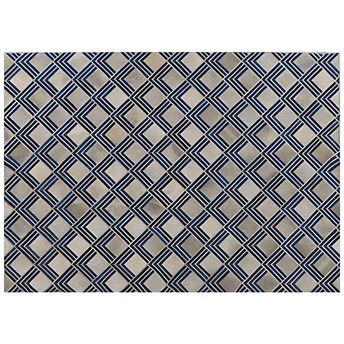 Eliot Hide Rug, Ivory/Navy