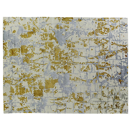 Chelsea Hand-Knotted Rug, Gray/Gold