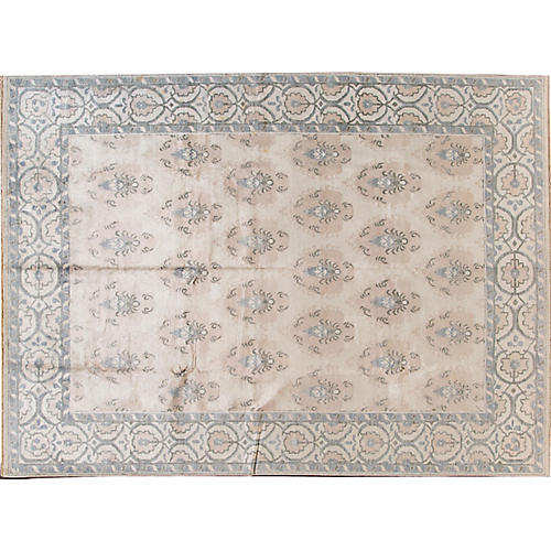 "8'8""x12' Modern Hand-Knotted Rug, Ivory/Gray"