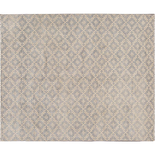 "8'x9'8"" Oushak Hand-Knotted Rug, Blue/Cream"