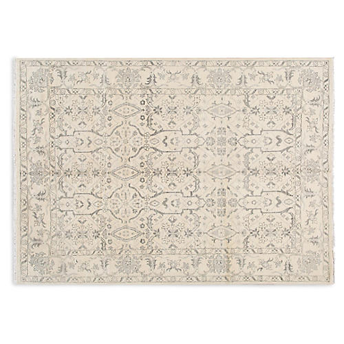 "10'4""x14'8"" Oushak Hand-Knotted Rug, Ivory/Gray"