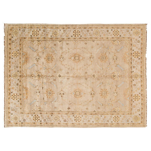 """10'2""""x14' Oushak Hand-Knotted Rug, Beige/Multi"""