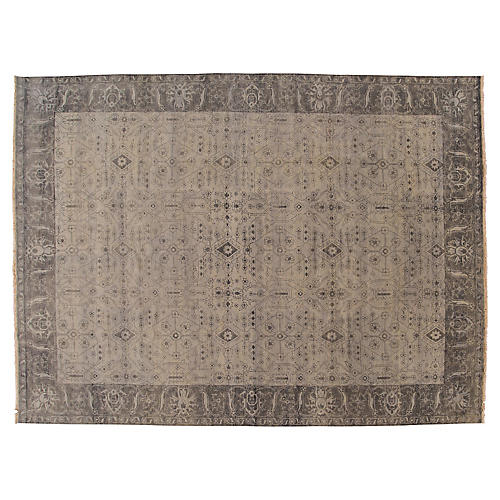 """10'1""""x13'8"""" Oushak Hand-Knotted Rug, Gray/Multi"""