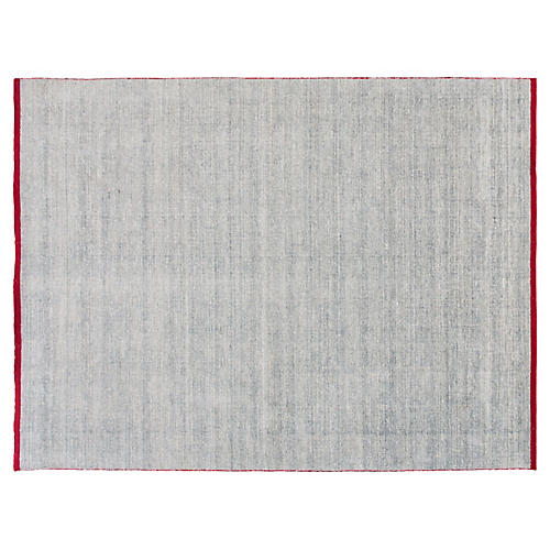 9'x12' Modern Indian Rug, Light Blue/Red
