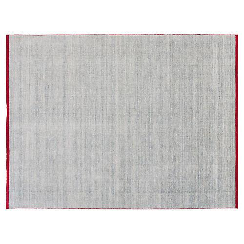 9'x12' Modern Indian Rug, Light Blue/Red