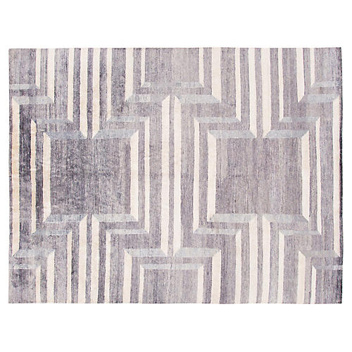 "8'x10'2"" Modern Hand-Knotted Rug, Gray/Ivory"