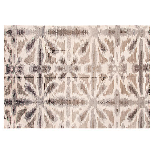 "9'10""x14' Modern Hand-Knotted Rug, Gray/Beige"