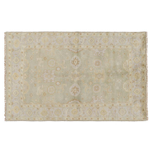 """5'x7'10"""" Oushak Hand-Knotted Rug, Green"""