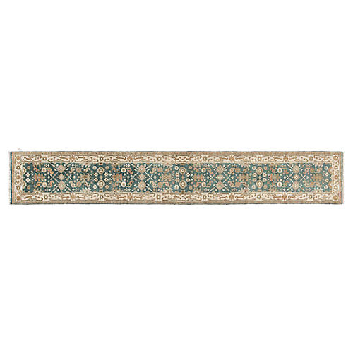 "2'5""x15'9"" Oushak Runner, Green/Multi"