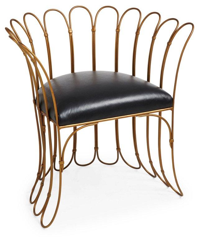 Berenice Chair, Brass/Black