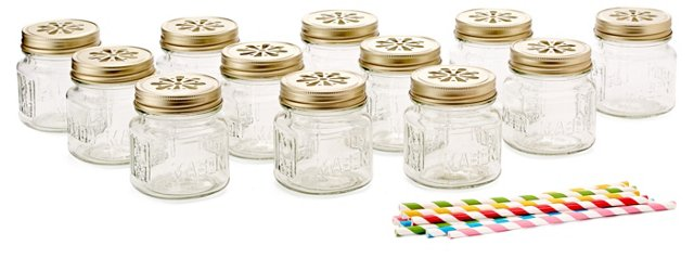 S/12 Assorted Mason Jars & Sippers