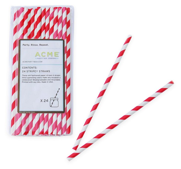 S/100 Stripey Straws, Red