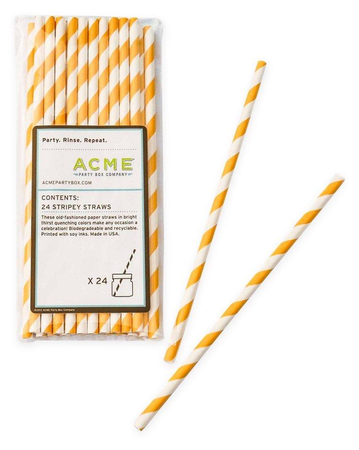 S/100 Stripey Straws, Yellow