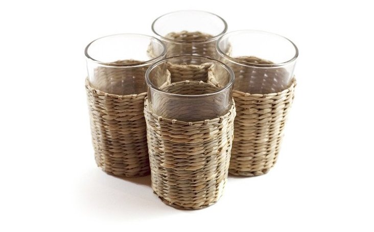 S/6 Glass Tumblers, Sea Grass