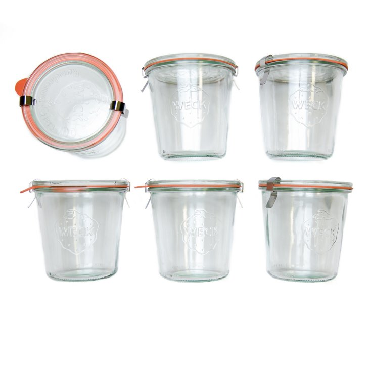 S/6 Weck Jars, 17 Oz