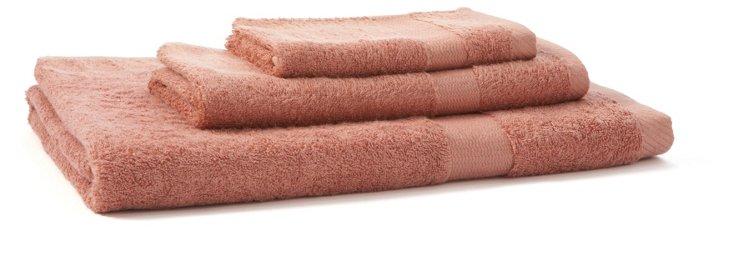3-Pc Bamboo Towel Set, Red Tangerine